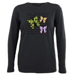 Plaid Butterflies Plus Size Long Sleeve Tee