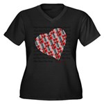 Plaid Heart Women's Plus Size V-Neck Dark T-Shirt
