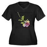 Plaid Rose Women's Plus Size V-Neck Dark T-Shirt