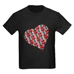 Plaid Heart Kids Dark T-Shirt