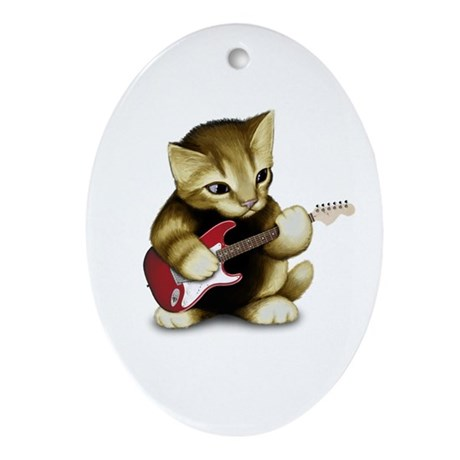 Cat Playing Guitar Oval Ornament