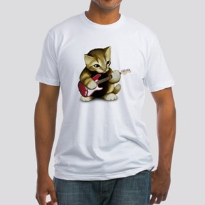 Cat Playing Guitar Fitted T-Shirt