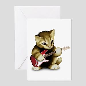 Cat Playing Guitar Greeting Card