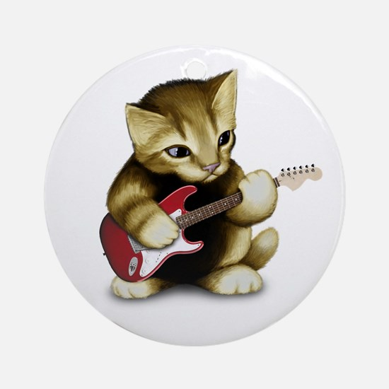 Cat Playing Guitar Ornament (Round)