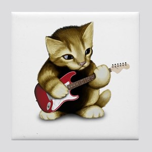 Cat Playing Guitar Tile Coaster