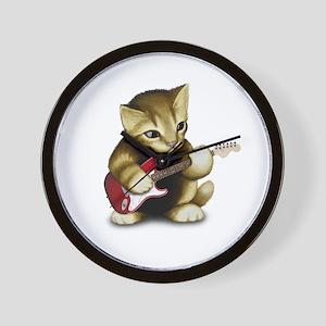 Cat Playing Guitar Wall Clock