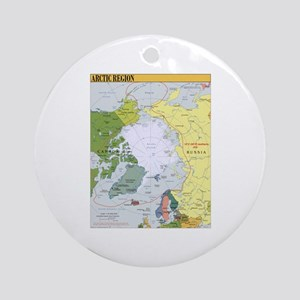 Arctic Polar Map Ornament (Round)
