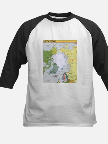 Arctic Polar Map Kids Baseball Jersey
