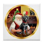 Santa's Lab (blk)#1 Tile Coaster
