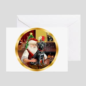 Santa's Lab (blk)#1 Greeting Card