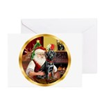 Santa's Lab (blk)#1 Greeting Cards (Pk of 10)