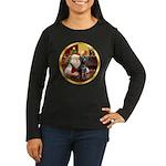 Santa's Lab (blk)#1 Women's Long Sleeve Dark T-Shi