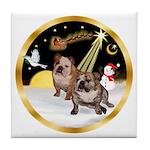 Night Flight/2 Eng Bulldogs Tile Coaster