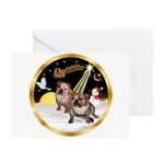 Night Flight/2 Eng Bulldogs Greeting Cards (Pk of