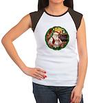 Santa's Pomeranian #1 Women's Cap Sleeve T-Shirt