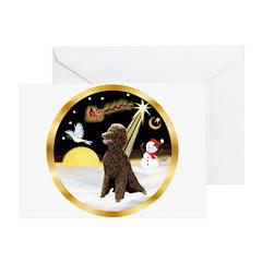 Night Flight/Poodle Std(choc) Greeting Card