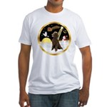 Night Flight/Poodle Std(choc) Fitted T-Shirt