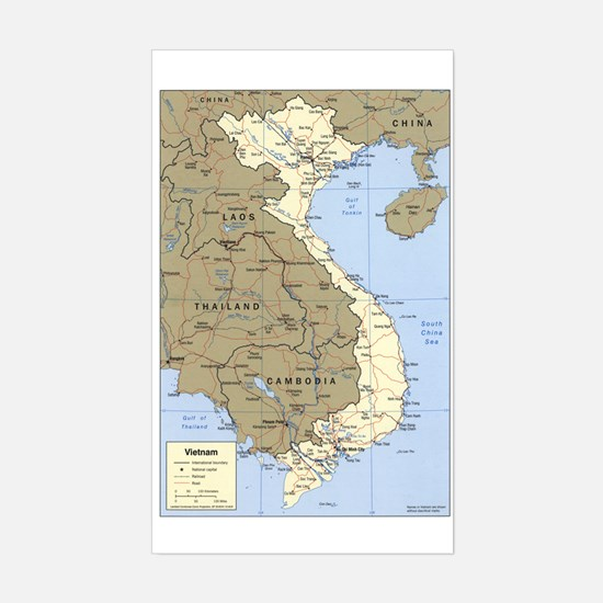 Vietnam Asia Map Rectangle Decal