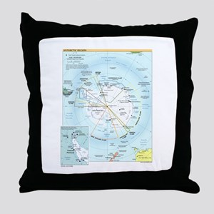 Antarctic Antarctica Map Throw Pillow