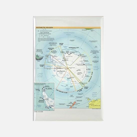 Antarctic Antarctica Map Rectangle Magnet