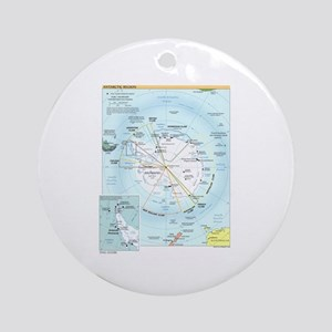 Antarctic Antarctica Map Ornament (Round)