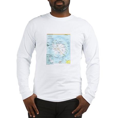 Antarctic Antarctica Map Long Sleeve T-Shirt