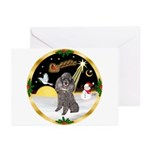 Night Flight/Silver Poodle Greeting Cards (Pk of 1