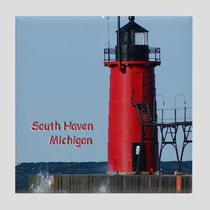 South Haven Lighthouse Tile Coaster