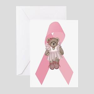 Breast Cancer Ribbon & Ballerina Bear Greeting Car