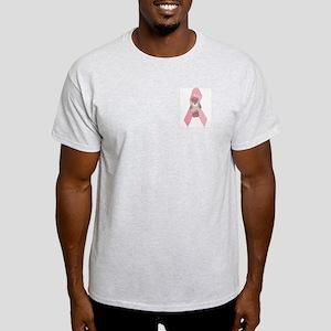 Breast Cancer Ribbon & Ballerina Bear Ash Grey T-S