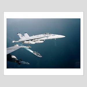 F-18 Hornet Soars Over USS En Small Poster