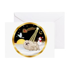 Night Flight/Pekingese Greeting Card