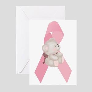Breast Cancer Ribbon & Teddy Bear Greeting Cards (