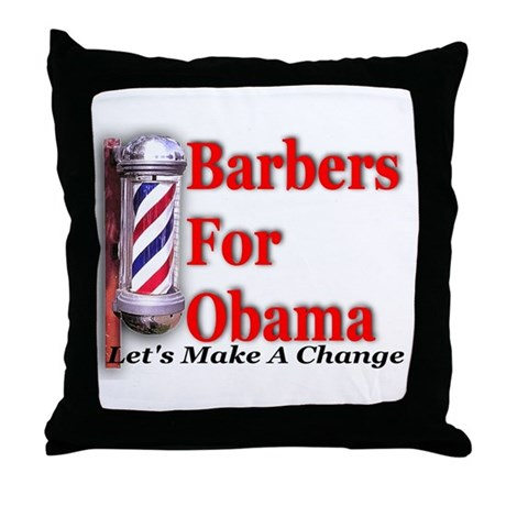 Barbers For Obama Throw Pillow
