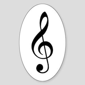 Trad Basic Black Treble Clef Oval Sticker