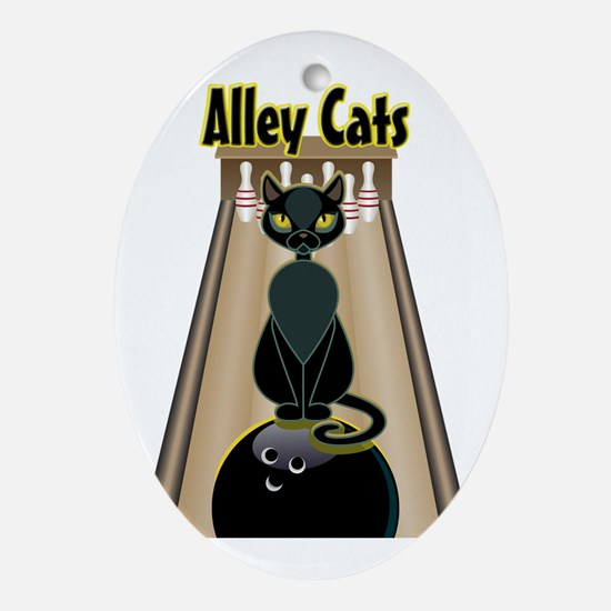 Cute Alley cats Oval Ornament