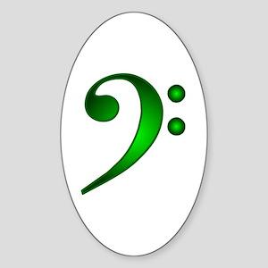 """Metallic"" Green Bass Clef Oval Sticker"