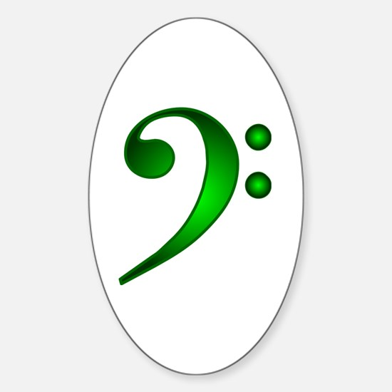 """Metallic"" Green Bass Clef Oval Decal"