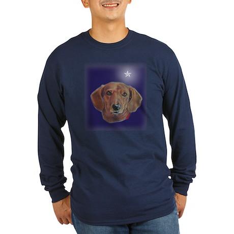 Dachshund Star Long Sleeve Dark T-Shirt