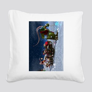 Santa's Last Minute Delivery Square Canvas Pillow