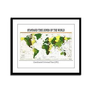 World Time Zone Map Framed Panel Print