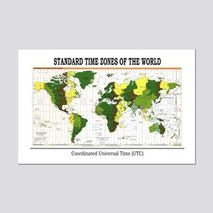World Time Zone Map Mini Poster Print
