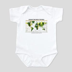 World Time Zone Map Infant Bodysuit