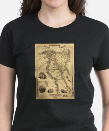 Ancient Egypt Map Women's Dark T-Shirt
