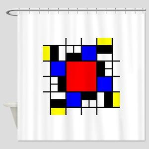 Depressed Mondrian Heart Red Blue Y Shower Curtain