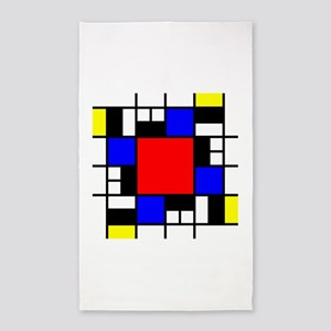 Depressed Mondrian Heart Red Blue Yellow Area Rug
