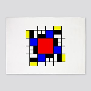 Depressed Mondrian Heart Red Blue Y 5'x7'Area Rug