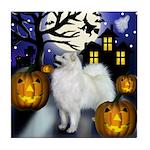 SAMOYED DOG HALLOWEEN Tile Coaster