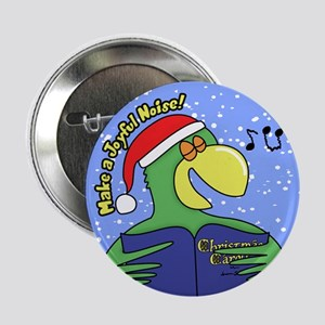 "Joyful Noise Christmas Parrot 2.25"" Button"