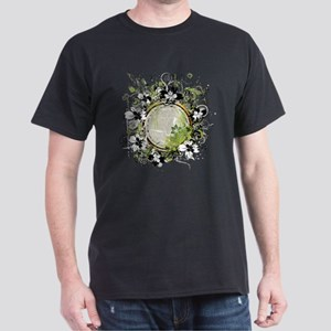 Green Flower Abstract Dark T-Shirt